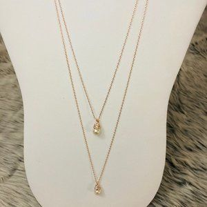 Rose Gold double strand pearl drop necklace